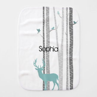 Birch Trees with Deer Burp Cloth