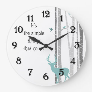 Birch Trees with Deer Simple Things Count Wallclock