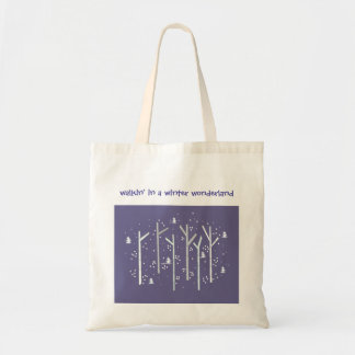 Birch Trees with Falling Snow Budget Tote Bag