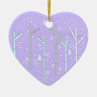 Birch Trees with Falling Snow Ceramic Heart Decoration