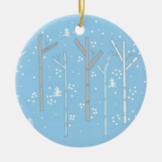 Birch Trees with Falling Snow Round Ceramic Decoration