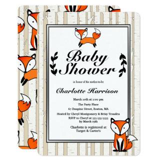 Birch Trees & Woodland Fox Baby Shower Card