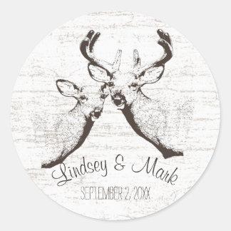 Birch Wood Deer Classic Round Sticker