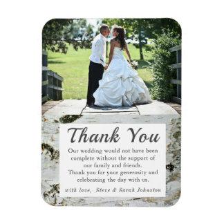 Birch Wood Tree Bark Wedding Photo Thank You Magnet
