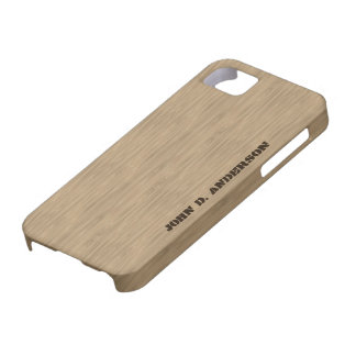 Birch wooden look, add name custom barely there iPhone 5 case