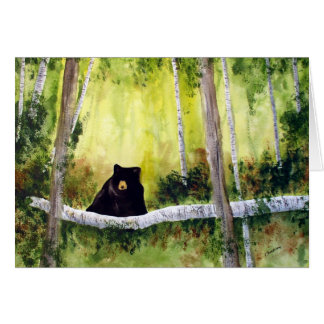 Birches and Bear Blank Greeting Card