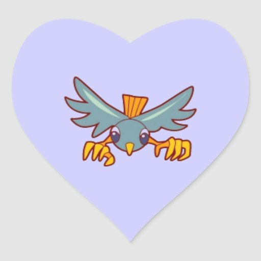 bird502 MINIMAL CARTOON ROBIN BIRD BLUE ORANGE PET Sticker