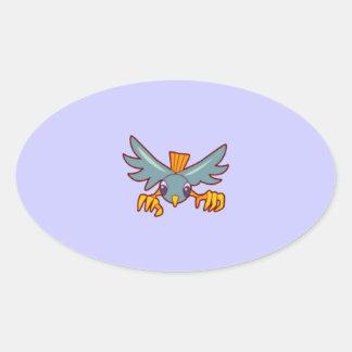 bird502 MINIMAL CARTOON ROBIN BIRD BLUE ORANGE PET Oval Sticker