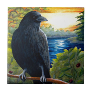 Bird 63 crow ceramic tile