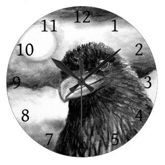 Bird 64 Crow Raven Moon black white Large Clock