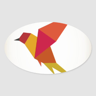 Bird abstraction oval sticker