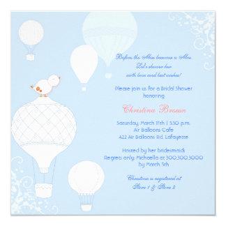 Bird + Air Balloons Sky Blue Bridal Shower Invites