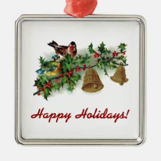 Bird And Bells On Holly Branch Square Metal Christmas Ornament