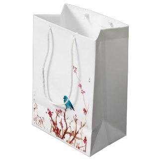 Bird and Berries Medium Gift Bag Matte Finish