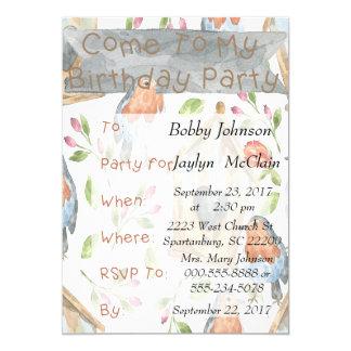 Bird and Birdhouse Birthday Party Invitation