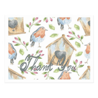 Bird and Birdhouse Thank You Postcard