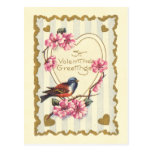 Bird and Bloom St Valentine's Greetings Postcard