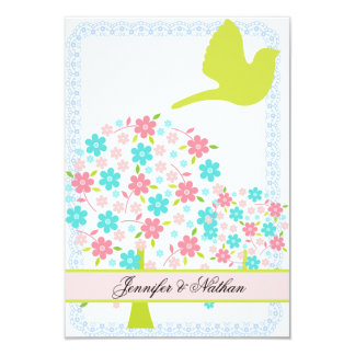 """Bird and Blossoming Trees RSVP Card 3.5"""" X 5"""" Invitation Card"""