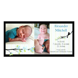 Bird and Blossoms in Blues Birth Announcement Personalized Photo Card
