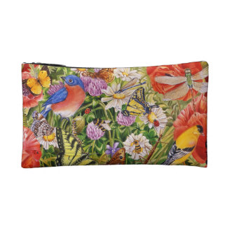 Bird and Butterflies Small Cosmetic Bag