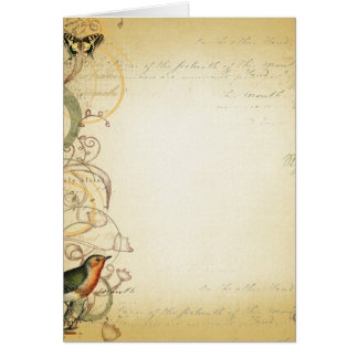 Bird and Butterfly Swirl Fancy Greeting Cards