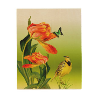 Bird and Butterfly Wood Wall Art