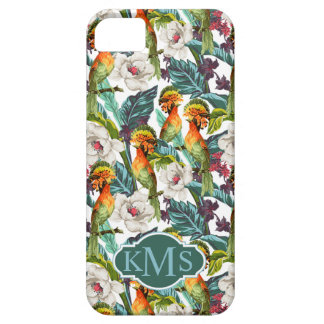 Bird And Exotic Flower Pattern | Monogram Barely There iPhone 5 Case