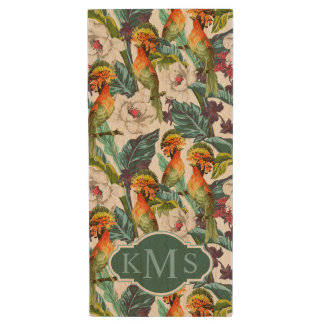 Bird And Exotic Flower Pattern | Monogram Wood USB 2.0 Flash Drive