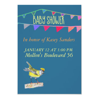 Bird and Flags  Blue Baby Shower Invitation