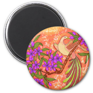 Bird and Floral 6 Cm Round Magnet