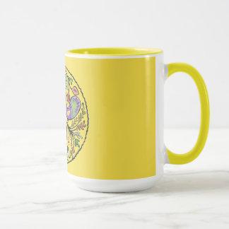Bird and Floral Folk Art Combo Mug
