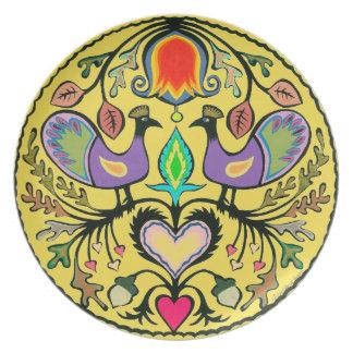 Bird and Floral Folk Art Melamine Plate