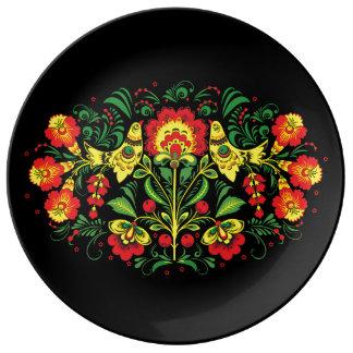 Bird and Floral Folk Art Porcelain Plate