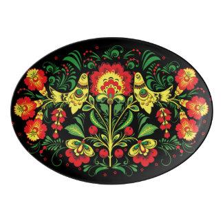 Bird and Floral Folk Art Serving Platter