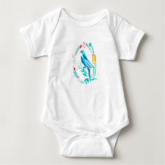 Bird and Floral Wreath Baby Bodysuit