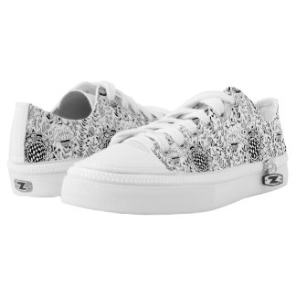 Bird and flowers doodle pattern low tops