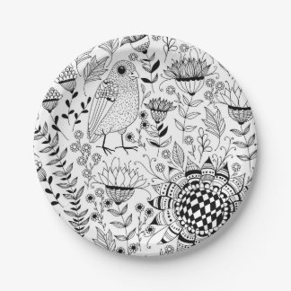 Bird and flowers doodle pattern paper plate
