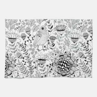 Bird and flowers doodle pattern tea towel