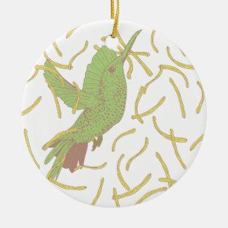 Bird and French Fries Round Ceramic Decoration
