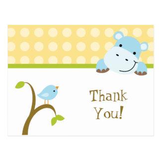Bird and hippo polkadots thank you postcard