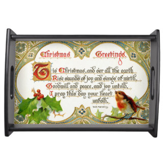 Bird And Holly Vintage Christmas Greetings Tray