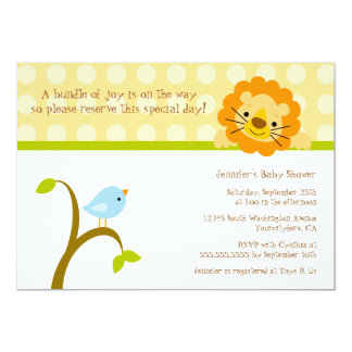 Bird and lion polkadots baby shower invitation