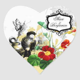 Bird and Orange Nasturtiums Heart Stickers