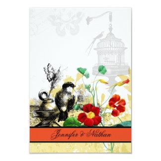 "Bird and Orange Nasturtiums RSVP Card 3.5"" X 5"" Invitation Card"