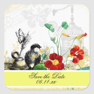 Bird and Orange Nasturtiums Save the Date Stickers