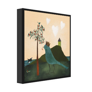 Bird and orca with cherry tree painting canvas print