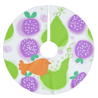Bird and Pear tree skin Brushed Polyester Tree Skirt