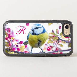 Bird and Pink Blossoms Monogram OtterBox Symmetry iPhone 8/7 Case
