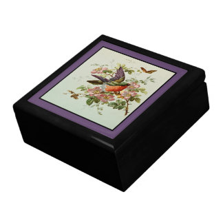 Bird and Pink Wild Roses Gift Box