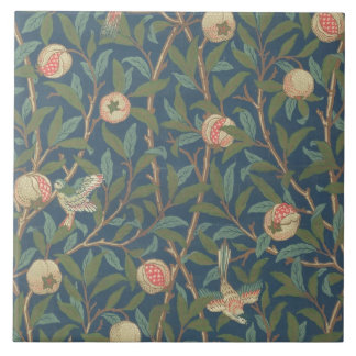 'Bird and Pomegranate' Wallpaper Design, printed b Large Square Tile